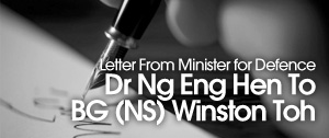 Letter From Dr Ng Eng Hen To BG(NS) Winston Toh