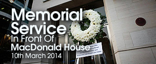 Memorial Service in Front of MacDonald House